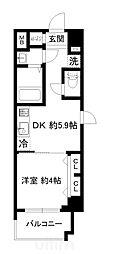 近鉄京都線 東寺駅 徒歩9分の賃貸マンション 4階1DKの間取り