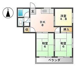 愛知県あま市木田加瀬の賃貸マンションの間取り