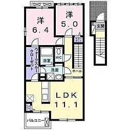 静岡県浜松市南区本郷町の賃貸アパートの間取り