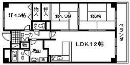 ヒュース一丘弐番館[3階]の間取り