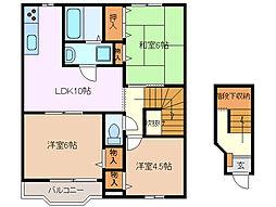 三重県四日市市大字西阿倉川の賃貸アパートの間取り