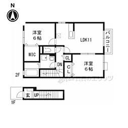 JR湖西線 和邇駅 徒歩10分の賃貸アパート 2階2LDKの間取り