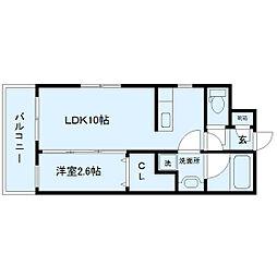サンシャイン太子堂 4階1LDKの間取り