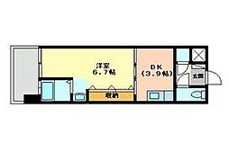 No.47 PROJECT2100小倉駅 12階1DKの間取り