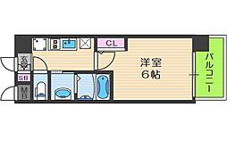 エステムコート中之島GATEII 5階1Kの間取り