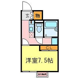 兵庫県明石市魚住町金ヶ崎の賃貸アパートの間取り