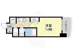 Luxe神戸WEST 2階1Kの間取り