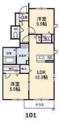 シャーメゾンレフレールV[2階]の間取り