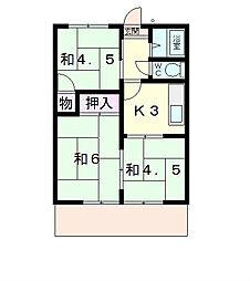 滋賀県近江八幡市白鳥町の賃貸アパートの間取り