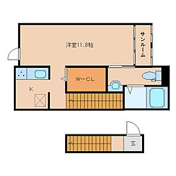 静岡県静岡市駿河区国吉田3丁目の賃貸アパートの間取り