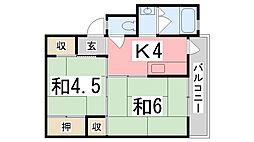 ビレッジハウス十王堂1号棟[306号室]の間取り