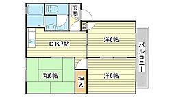 サニーハイツUEDA[A201号室]の間取り