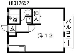大阪府大阪市東住吉区中野3丁目の賃貸アパートの間取り