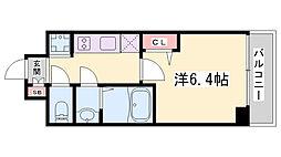 プレサンス神戸キュリオ 4階1Kの間取り