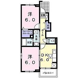 プリムローズ二番館[1階]の間取り