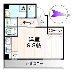 レクシズ浅草本所 5階ワンルームの間取り