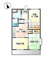 福岡県北九州市小倉南区下貫2丁目の賃貸マンションの間取り