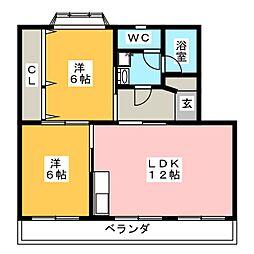 さくた中央ハイツ[3階]の間取り