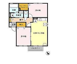 カサベルデA[1階]の間取り