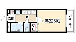 愛知県名古屋市守山区長栄の賃貸アパートの間取り