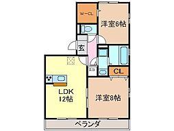 静岡県富士市柚木の賃貸アパートの間取り