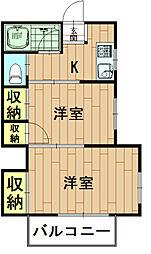 神奈川県川崎市中原区井田杉山町の賃貸アパートの間取り