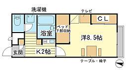兵庫県赤穂市上仮屋南の賃貸アパートの間取り