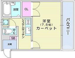 仙台市地下鉄東西線 八木山動物公園駅 徒歩15分の賃貸マンション 2階1Kの間取り