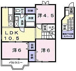 埼玉県川口市差間1丁目の賃貸アパートの間取り