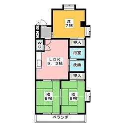ハイツ平田[4階]の間取り