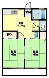 愛知県岡崎市筒針町の賃貸アパートの間取り