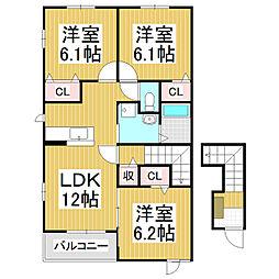 長野県松本市大字松原の賃貸アパートの間取り