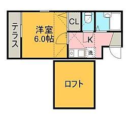 神奈川県川崎市多摩区生田2丁目の賃貸アパートの間取り