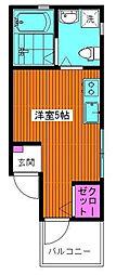 東京都江戸川区平井7丁目の賃貸アパートの間取り