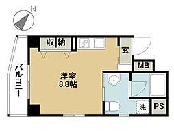 前田ビル 3階ワンルームの間取り