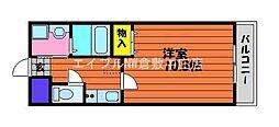 JR山陽本線 新倉敷駅 徒歩4分の賃貸マンション 1階1Kの間取り