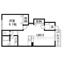 JR東海道・山陽本線 膳所駅 徒歩10分の賃貸アパート 1階1LDKの間取り