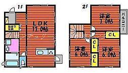 [一戸建] 岡山県岡山市北区大安寺東町 の賃貸【/】の間取り