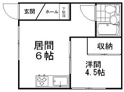中田ハイツ 2階1DKの間取り