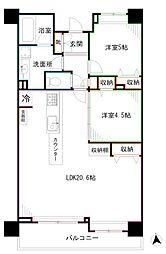 西武新宿線 下落合駅 徒歩4分の賃貸マンション 6階2LDKの間取り