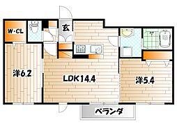 サン・ヴィレッジII B棟[1階]の間取り