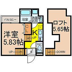 愛知県名古屋市西区江向町3丁目の賃貸アパートの間取り