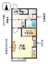 愛知県清須市朝日愛宕の賃貸アパートの間取り