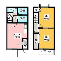 [テラスハウス] 愛知県知多市八幡字左り脇 の賃貸【/】の間取り
