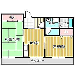 愛知県名古屋市中川区高畑1丁目の賃貸マンションの間取り