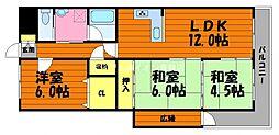 岡山県倉敷市白楽町の賃貸マンションの間取り
