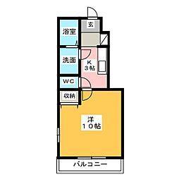 コテージ中川[1階]の間取り