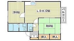 兵庫県姫路市飾磨区英賀宮町1丁目の賃貸アパートの間取り
