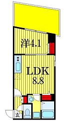 シャルム・ドゥ・プランドールI 1階1DKの間取り