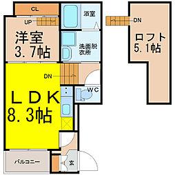 名古屋市営鶴舞線 鶴舞駅 徒歩10分の賃貸アパート 2階1SLDKの間取り